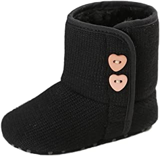 Amiley Toddler Baby Button Snow Boots Soft Sole Prewalker Crib Shoes Bootie (Size 12 (US:3--- 6~12 Month)