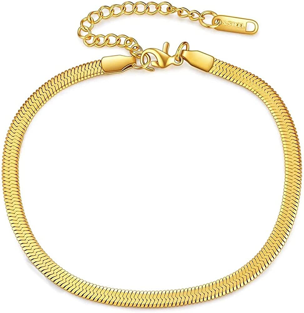 Flat Snake Chain Bracelets, Metal Adjustable Herringbone Link Chain Bracelet, Jewelry Come Gift Box, Women Girls Motivational Birthday