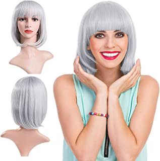 MelodySusie Silver Gray Short Bob Wig for Women,13 Inches Hair Wigs with Flat Bangs Synthetic Wig Natural as Real Hair Adjustable Size Cosplay Halloween Party Costume Wig with Wig Cap, Silver Gray
