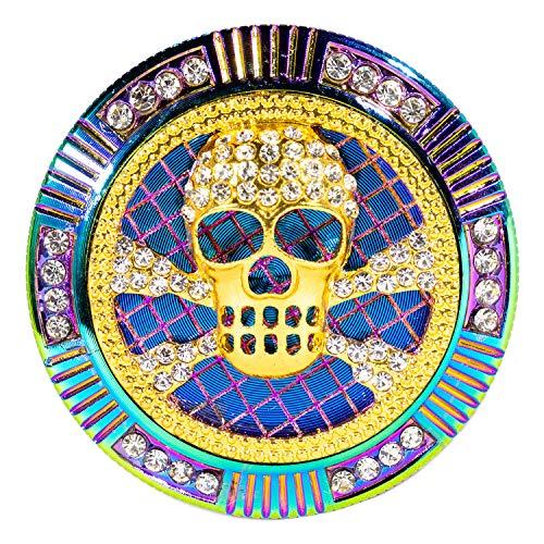 Herb Grinder - Diamond Jewel, Magnetic Lid, Colorful, 4 Part Aluminum with Mesh Screen Pollen Filter and Scraper, 2 Inch | RVTUS - Jolly Roger Cross Bones