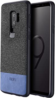 Samsung Galaxy S9 Plus Cases, Anti-Scratch Shock-Absorbing Fabric Business Men Covers with Full Silicon Soft Edges and Great Grip,Fully-Protective and Compatible for Samsung Galaxy S9 Plus(Black+Blue