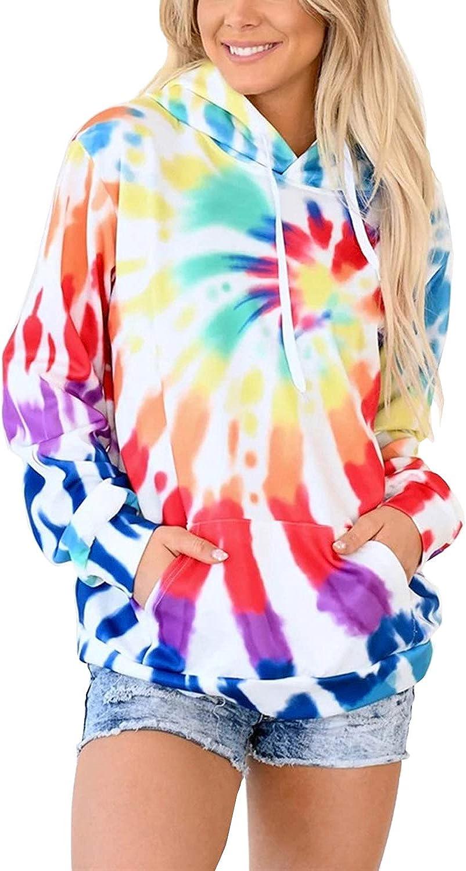 HVEPUO Tie Dye Print Hoodie Long Sleeve Drawstring Pullover Tops Loose Casual Sweatshirt For Women(S-XXL)