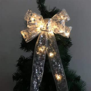 Chirpa Chirstmas Decorations, LED Christmas Tree Ornaments Ribbon Bows for Home Christmas Tree Wreaths Decor