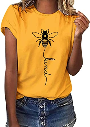 Voqeen Camiseta de Manga Corta con Cuello Redondo para Mujer Estampada Tipo Abeja para Adolescentes Casuales Camiseta para niñas Blusa de Verano ...