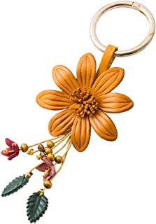 Genuine Leather Flower Tassel Keychain Car Keyring Fob Boho Accessorie for Women