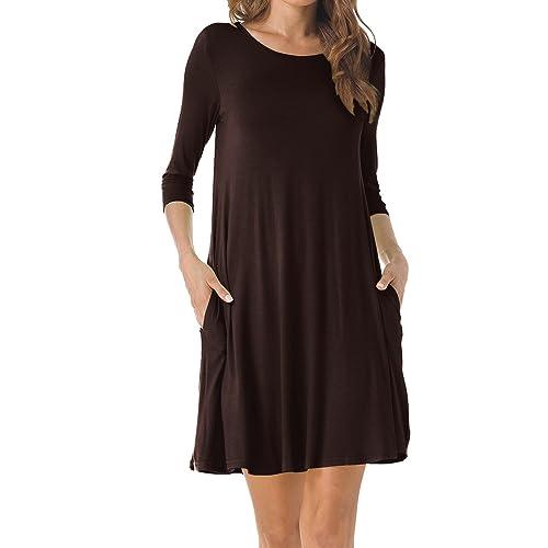 e296badda00a TINYHI Women s O-Neck 3 4 Sleeves Tunic Pocket Loose Casual Swing Tshirt  Dress
