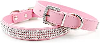 Didog Full Crystal Rhinestones Shing Diamonds PU Leather Dog Pet Collars with Rhinestones Buckle