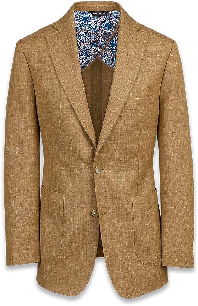 Paul Fredrick Men's Wool Silk and Linen Notch Lapel Suit Jacket
