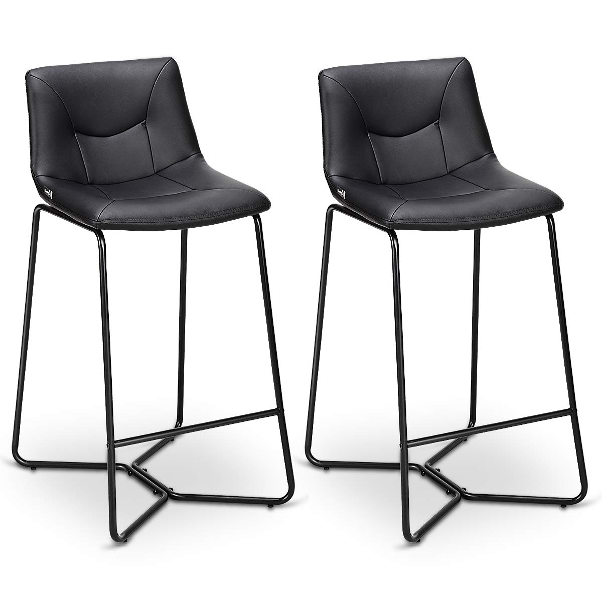 COSTWAY Bar Stools Modern Count Height Armless Pub Chairs w/Metal Legs  Dining Kitchen Side Chair Barstools Set of 7 (Black)