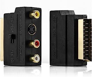 deleyCON Adaptateur Péritel vers 3X RCA in Out + Adaptateur S-Vidéo S-VHS AV Audio Vidéo