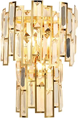 KCO Lighting Crystal Wall Sconce Lighting 2 Lights Metal Stainless Steel Wall Mount Light Fixtures with Tiered Clear Crystal