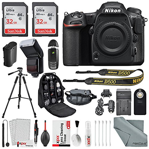 Nikon D500 DSLR Camera with Deluxe Accessory Bundle and Cleaning Accessories