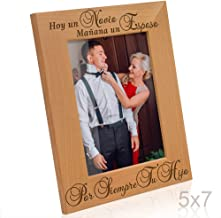 Kate Posh-Mother of The Groom Spanish Gifts, Father of The Groom Spanish Gifts - Hoy un Novio, Spanish Wedding (Boda) Day Gifts for Mom & Dad, Engraved Natural Wood Picture Frame (5x7-Vertical)