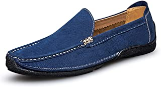 PengCheng Pang Driving Loafer for Men Boat Moccasins Slip On Style Suede Leather Metaldecor Low Top Handtailor Round Toe (Color : Blue, Size : 7.5 UK)