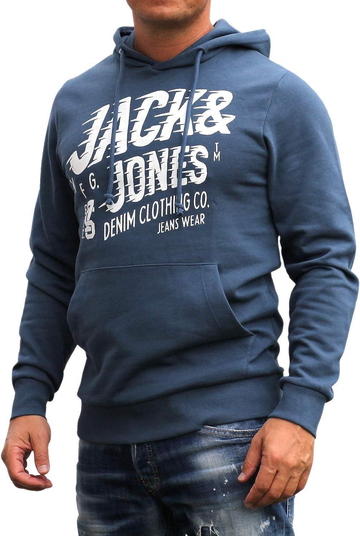 Jack and Jones Herren Hooded Kapuzen Sweatshirt Langarm Shirt Rundhals mit Druck
