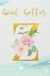 "Goal Getter ""Z"": 100 Day Gratitude Journal & Goal Planner 100 Days Goal Planner Initial Gold And Floral Monogram Letter ""..."