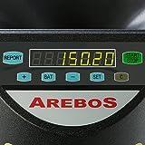 AREBOS Münzzähler | 300 Münzen pro Minute | für Euro Münzen | 8 mobile Sortierbehälter | mit Sortier- und Zählfunktion | LED-Display | Sortiermaschine | Geldzählmaschine | Schwarz | - 3