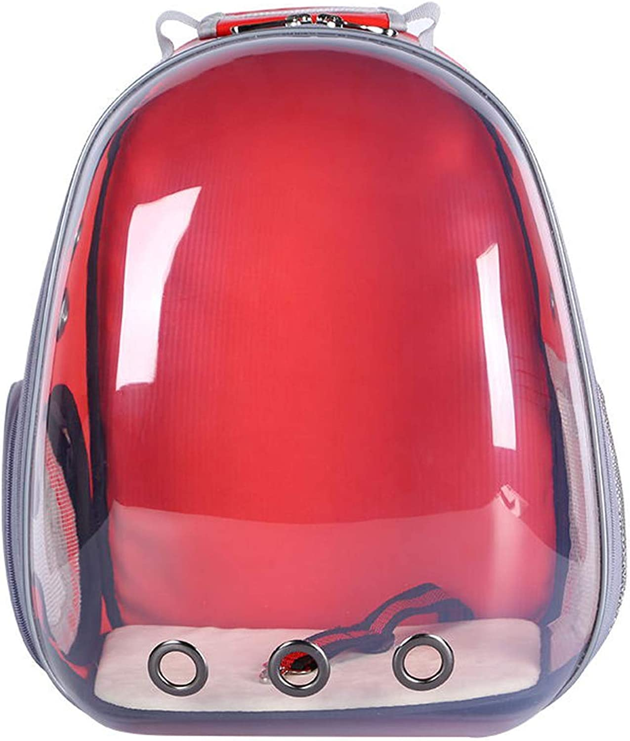 MARIS Portable Pet Travel Breathable Backpack,Space Capsule Bubble Design,Waterproof Handbag Backpack for Cat and Small Dog (bluee),red