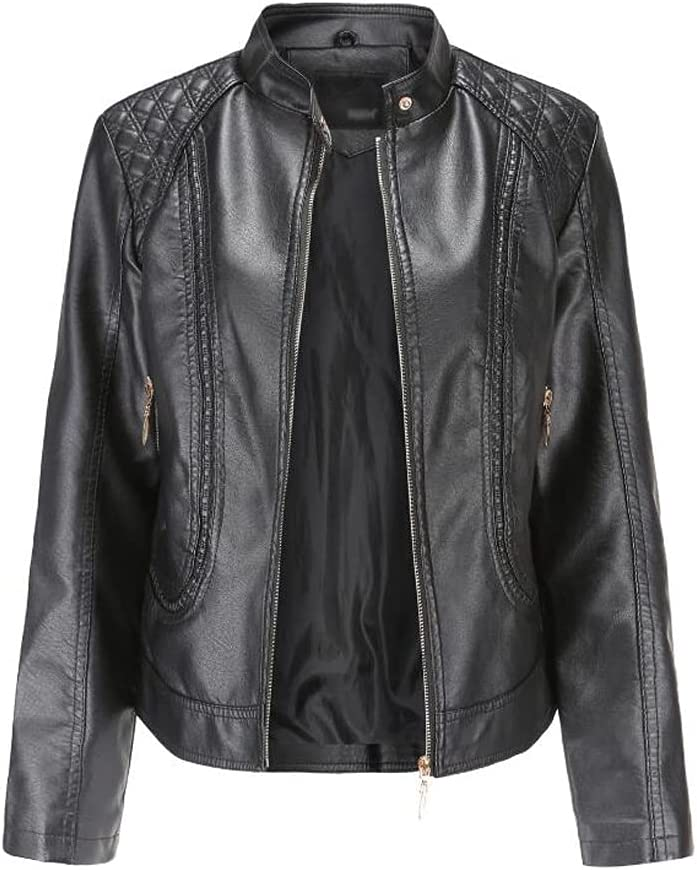 SLATIOM Spring and Autumn Women's Leather Jackets European and American Large Size Stand-up Collar PU Jacket Women's Leather Jackets (Color : Black, Size : L Code)