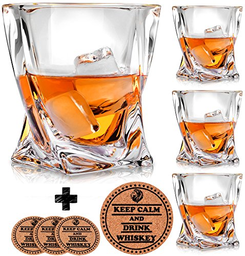 top 10 whiskey glasses VACI GLASS Crystal Whiskey Glass – Set of 4 – With 4 Cup Holder, Crystal Glass for Adhesive Tape, Malt…
