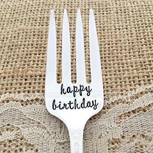 Happy Birthday : vintage hand stamped fork. floral