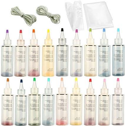 GCDN Kit de Tinte Tie Tie de 18 Botellas / 5 Botellas, Pintura de Tela Permanente, Pintura Textil, Kit de Tinte Tie Tie Colorido para Textiles, Tela, ...