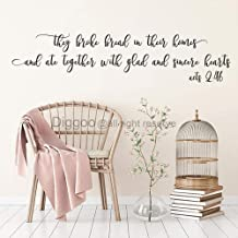 They Broke Bread in Their Homes and Ate Together with Glad and Sincere Hearts Acts 2 46 Wall Decal Scripture Quotes Vinyl Lettering Dining Room Decor (Black,5
