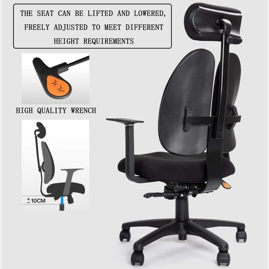 JISHIYU-Q Chaise de bureau, haut Fauteuil de bureau avec réglable double dossier, soutien lombaire et Mute Wheel Chaises (Color : C) B