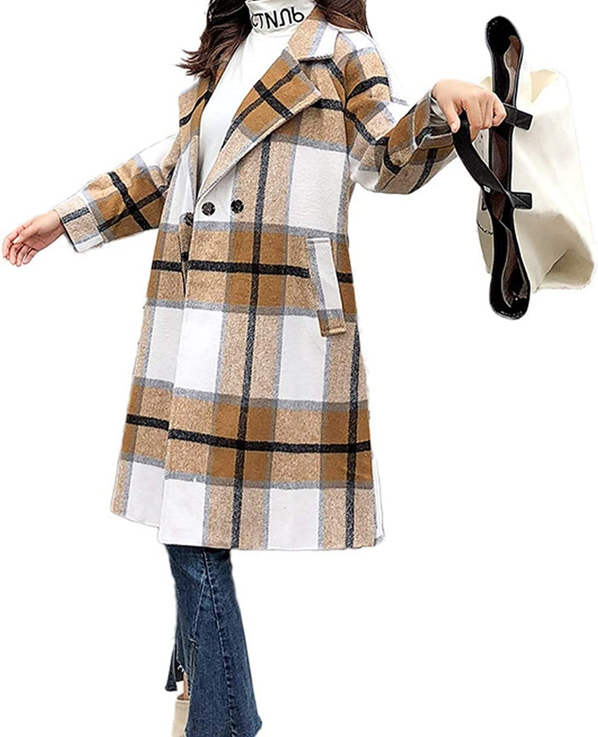 Casual Loose Women Long Woolen Coat Covered Button Women's Jacket TurnDown Collar Plaid Cashmere Coat and Jacket