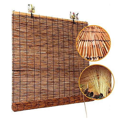 LAK Persiana de bambú, Persianas enrollables de bambú, Estores Caña Natural Estor Enrollable de carbonización Retro, Protección UV, para Interior, Exterior, Patio
