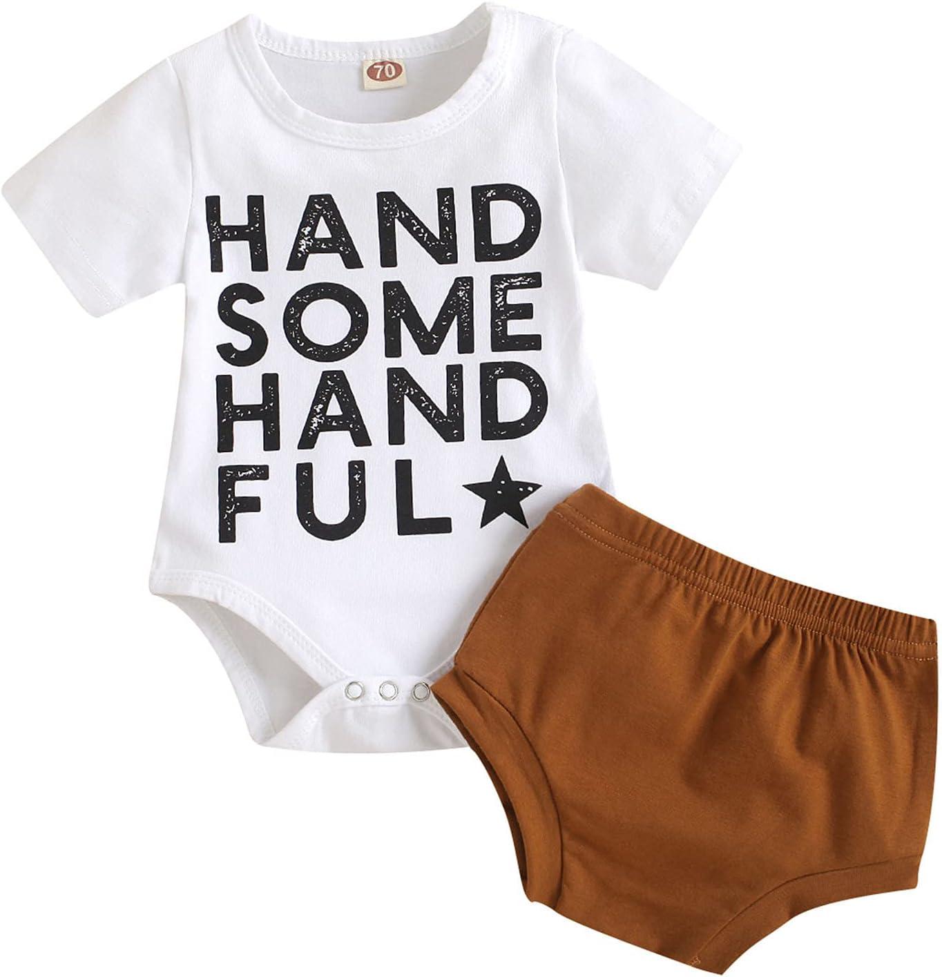 Briskorry Conjunto de ropa para bebé, niña, de manga corta, body y pantalón, para recién nacidos, camiseta y pantalones cortos, conjunto de 2 piezas, ropa para el tiempo libre