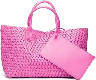Musebits المرأة نسج الأزياء فو الجلود ذات سعة كبيرة أعلى مقبض حقيبة الكتف حمل حقائب اليد الوردي