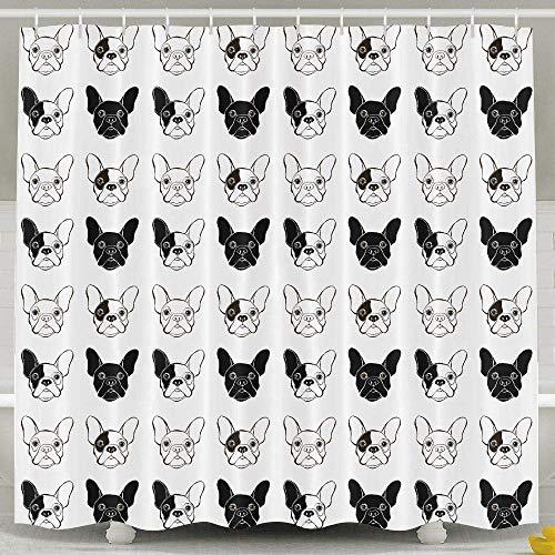 Cortina de ducha FERNMXZ para perro Bulldog francés, impermeable, tela de poliéster para decoración de baño, 60 x 72 pulgadas, repelente al agua y antibacteriano, incluye ganchos gratis