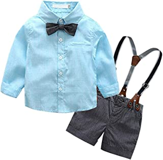 Baby & Little Boy Tuxedo Outfit, Dress Shirt + Suspender Shorts