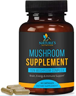 Mushroom Supplement with Lions Mane, Reishi, Chaga, Maitake - Daily Immune Support and Nootropic Brain Support Formula - M...