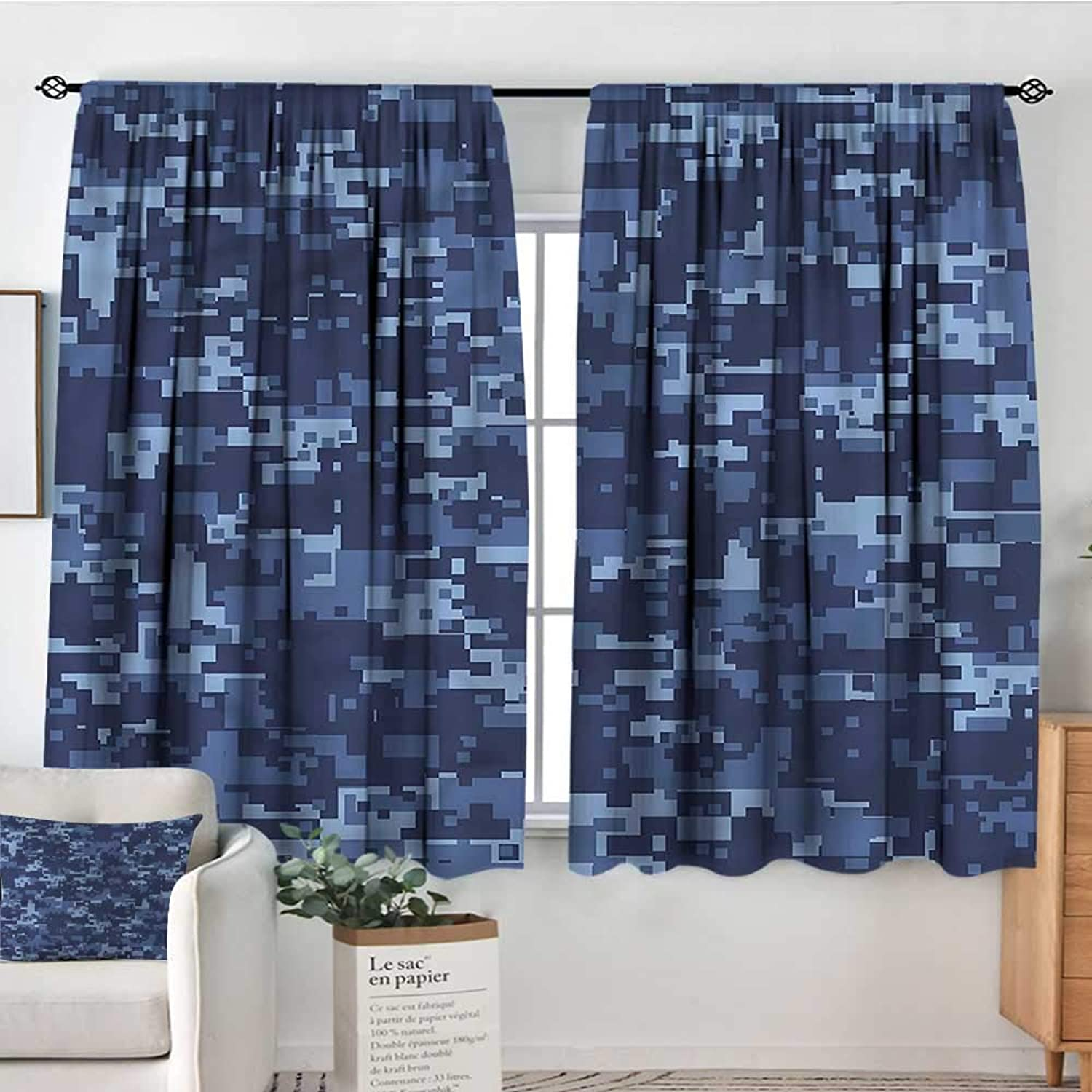 RenteriaDecor Camo,Outdoor Curtains Militaristic Digital Camo 52 x63  Print Picture Drapes for Iving Room