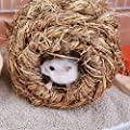 FOReverweihuajz Pet Woven Grass Straw Small Rabbit Hamster Cage Nest House Chew Toy Hedgehog Bed - Wood Color by FOReverweihuajz