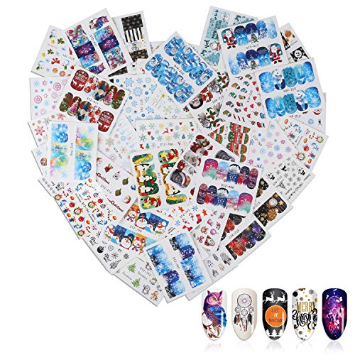 46 Sheets Christmas & New Year Theme 3D Nail Stickers, Mwoot Water Transfer Santa Claus Reindeer Xmas Tree Nail Art Tattoo Nail Decals DIY Nail Art Decoration Tip Stickers