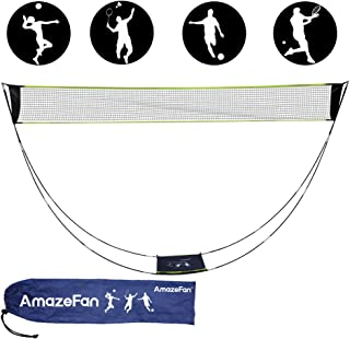 AmazeFan Portable Badminton Net Set with Stand & Carrying Bag, Folding Volleyball Tennis Badminton Net – Easy Setup for Beach/Indoor Court, Outdoor, No Tools or Stakes Required