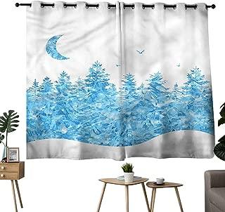 Alexandear Indoor Darkening Curtains Grommets Curtain for Bathroom Modern,Fairy Tale Winter Forest Bedroom/Living W96 x L72