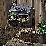 ZDYLM-Y Kompostbecher, 43 Gallonen extra breite Doppelkammer mit rotierendem 360-Grad-Komposter für...