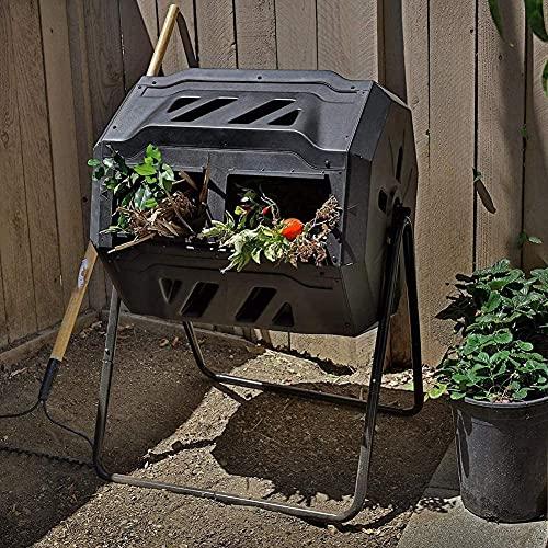 ZDYLM-Y Recipiente para abono, 43 galones de cámara Doble Extra Ancha con Recipiente para ciclador de residuos de Alimentos para compostador Giratorio de 360 Grados