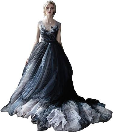 40d1df7d Lazacos Women's White and Black Tulle Lace Appliques Vintage Gothic Wedding  Dress