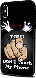 LuGeKe Don't Touch My Phone Phone Case Cover for iPhone XR Threaten Printed Phone Cover Shell Frame for Apple iPhone Anti-Scratch Shockproof Black Back Cover