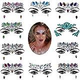 10 sets Mermaid Face Gems Glitter, Rhinestone Rave Festival Face Jewels, Cristales Face Stickers para Eyes Face Body Tatuajes temporales 17 * 14cm-D