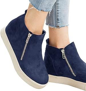 Womens Wedge Sneakers Platform High Top Side Zip Hidden Heel Winter Ankle Boots