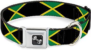 "Buckle-Down Jamaica Flags Dog Collar Bone, Wide Small/13-18"""