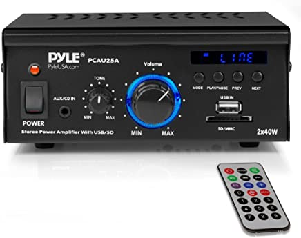 Pyle Home Mini Amplificador de Potencia con Visualización LED