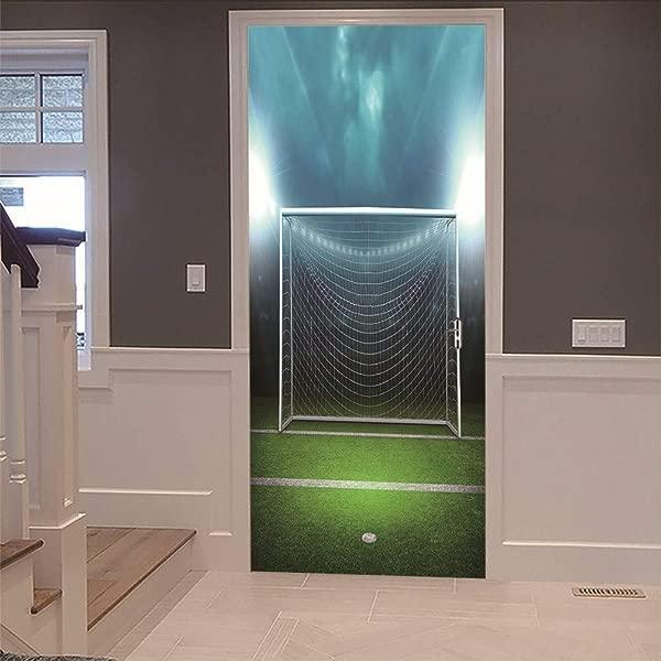 3D Door Stickers Soccer Ball Net Football Field Living Room Bedroom Wooden Door Home Decoration Self Adhesive Detachable Wall Stickers Waterproof PVC Mural