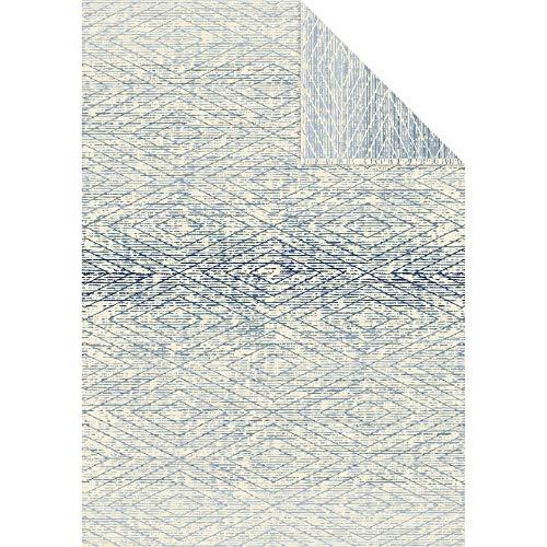 Ibena Mombasa Baumwolldecke 140x200 cm - Kuscheldecke blau wollweiß, kuschelig weich und angenehm warm, 100% Baumwolle, Made in Germany